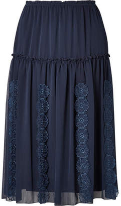 See by Chloe Appliquéd Tiered Crepe Skirt - Navy