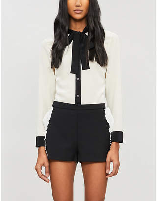 RED Valentino Ruffle-detail high-waisted crepe shorts