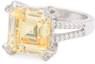 Sterling Silver Yellow Cz Ring