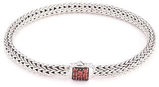 John Hardy Sapphire silver woven chain hook bracelet