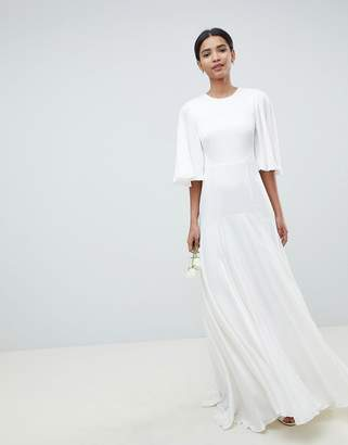 Asos Edition EDITION wedding dress with open back and flutter sleeve