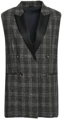 Brunello Cucinelli Satin-trimmed Embellished Checked Linen Vest