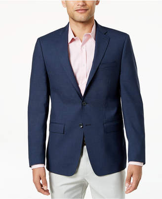 Calvin Klein Men's Slim-Fit Navy/Black Check Wool Sport Coat