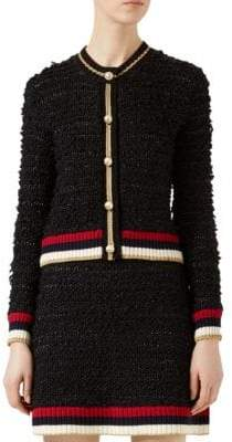 Gucci Faux-Pearl Mixed Yarn Cardigan