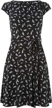 Dorothy Perkins Womens **Billie & Blossom Black Feather Print Skater Dress