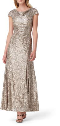 Tahari Sequin Embellished Cowl Neck Evening Gown