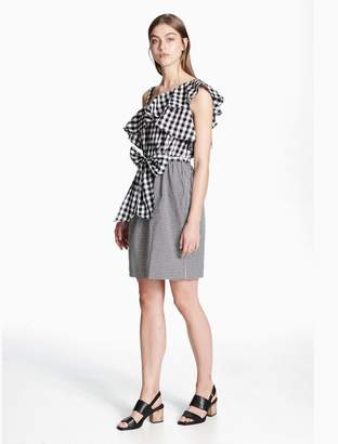 Calvin Klein gingham one shoulder sheath dress