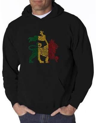Pop Culture Los Angeles Pop Art Big Men's Hoodie - Rasta Lion - One Love