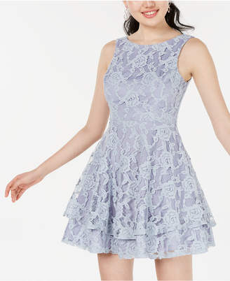 Speechless Juniors' Lace Double-Skirt Fit & Flare Dress