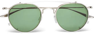 Barton Perreira Aalto Round-Frame Titanium And Acetate Optical Glasses With Clip-On Aviator-Style Uv Lenses