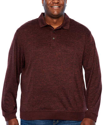 Van Heusen Flex Banded Bottom Polo Easy Care Long Sleeve Tonal Melange Polo Shirt Big and Tall