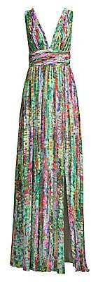 Aidan Mattox Women's Printed Chiffon Maxi Dress - Size 0