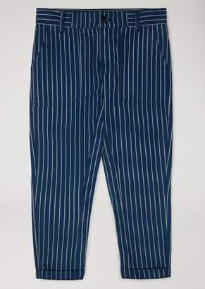 Armani Junior Striped Cotton Trousers