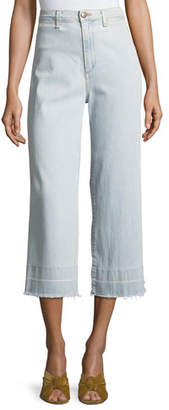 Veronica Beard Ali High-Waist Gaucho Jeans with Released Hem