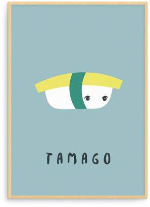 Born Lucky - Japanese Blue Tamago Sushi Illustration Nursery Art Print