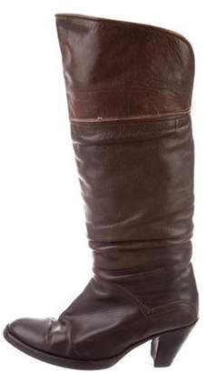 Frye Distressed Leather Knee-High Boots Brown Distressed Leather Knee-High Boots