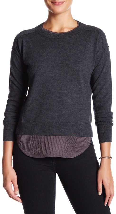 Brochu Walker Wool-Linen Blend Francine Layered Crew Sweater 2