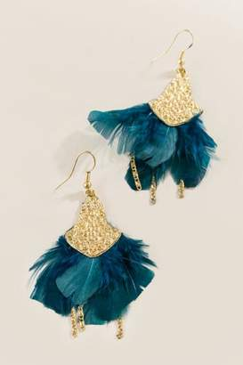 francesca's Destiny Teal Feather Chain Drop Earrings - Teal