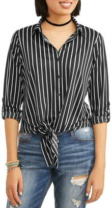 Paper Tee Juniors' Striped Tie Front Roll Tab Sleeve Button Front Blouse