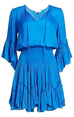 Halston Women's Smocked Waist Ruffle Trim Dress
