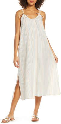 Madewell Rainbow Stripe Tie Strap Cover-Up Maxi Dress