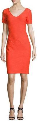 St. John Collection Catalina Knit V-Neck Short-Sleeve Dress, Tangerine $995 thestylecure.com