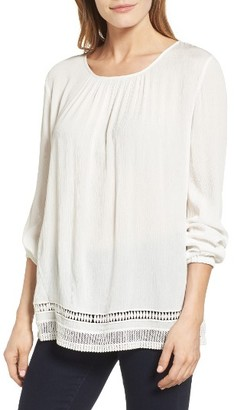 Women's Chaus Lace Trim Peasant Blouse $79 thestylecure.com
