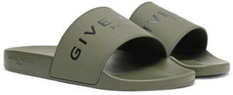 Givenchy Logo-Print Rubber Slides - Men - Army green