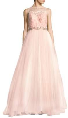 Mac Duggal Women's Illusion Sleeveless Gown