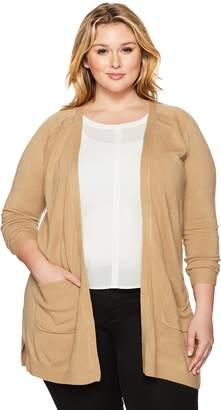 Napa Valley Women's Plus-Size Cashmerlon Long Sleeve Raglan Cardigan with Pockets