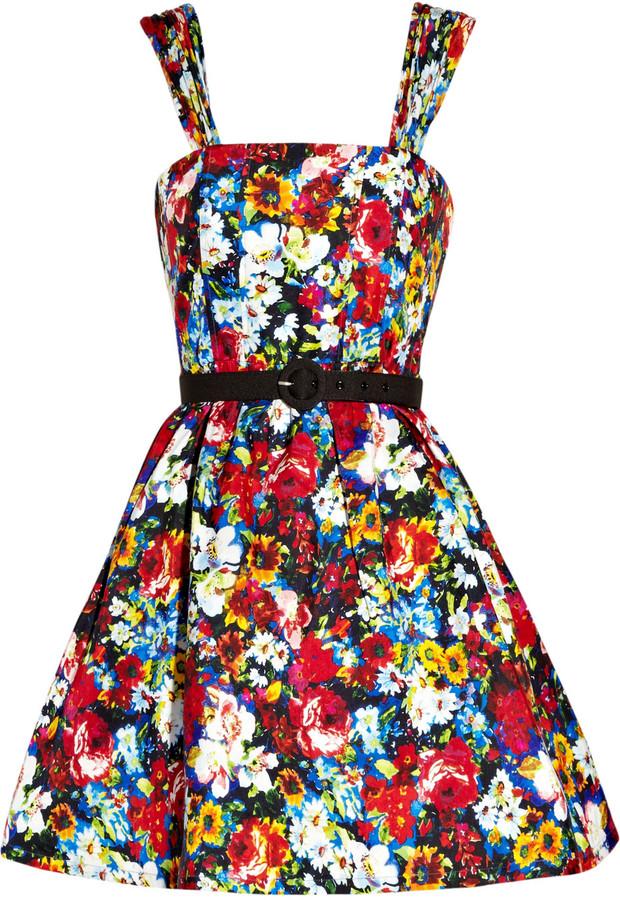 Alice + Olivia Full-skirted floral-print silk dress