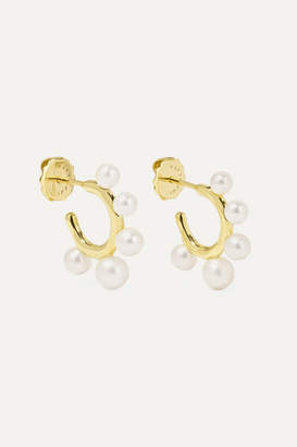 Ippolita Nova Teeny 18-karat Gold Freshwater Pearl Hoop Earrings