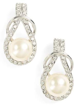 Nina Knot Imitation Pearl Drop Earrings