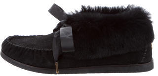 Tory Burch Tory Burch Fur-Trimmed Suede Booties