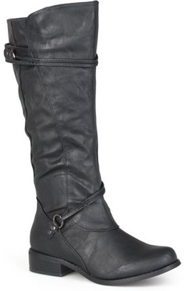 Brinley Co. Womens Regular Sized and Wide-Calf Ankle-Strap Buckle Knee-High Riding Boot