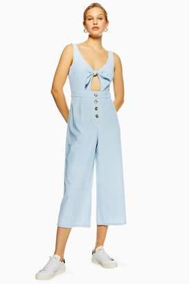 Topshop Womens Tie Horn Button Denim Jumpsuit - Bleach Stone