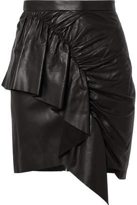 Isabel Marant Nela Ruffled Leather Mini Skirt - Black