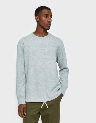 Reigning Champ LS Panel Crewneck Mesh Double Knit in Heather Grey