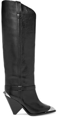 Isabel Marant Lenskee Metal-trimmed Leather Knee Boots - Black
