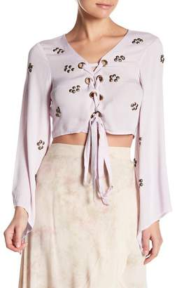 OnTwelfth Beaded Bell Sleeve Lace-Up Crop Top