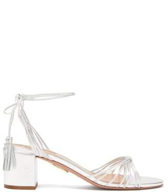 Aquazzura Mescal 50 Tasselled Leather Sandal - Womens - Silver