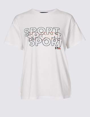 Marks and Spencer Cotton Blend Triple Logo T-Shirt