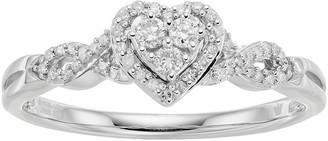 Hallmark Sterling Silver 1/5 Carat T.W. Diamond Heart Halo Ring