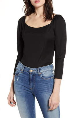 One Clothing Square Neck Smock Back Crop Tee