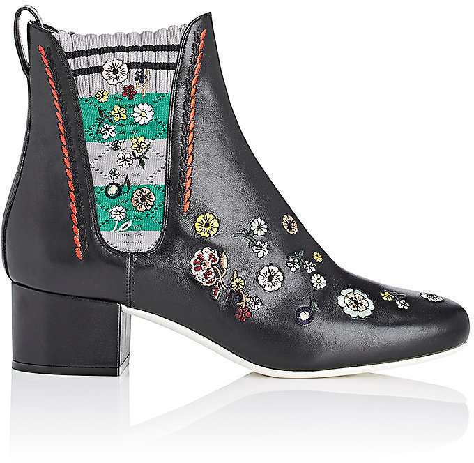 Fendi Women's Embroidered Leather Chelsea Boots