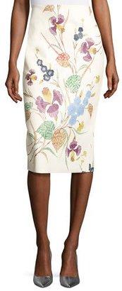 Diane von Furstenberg Floral Leather Midi Pencil Skirt, Off-White Multicolor $1,200 thestylecure.com
