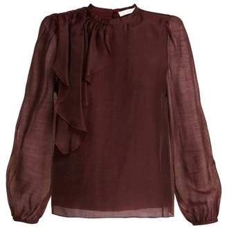 See by Chloe Ruffled Voile Blouse - Womens - Burgundy