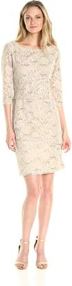 Ronni Nicole Women's 3/4 Sleeve Tiered Sequin Lace Dress