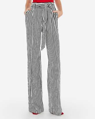 Express High Waisted Striped Sash Tie Wide Leg Pant