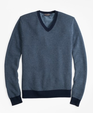 Brooks Brothers Supima Cotton Pique Stitch V-Neck Sweater